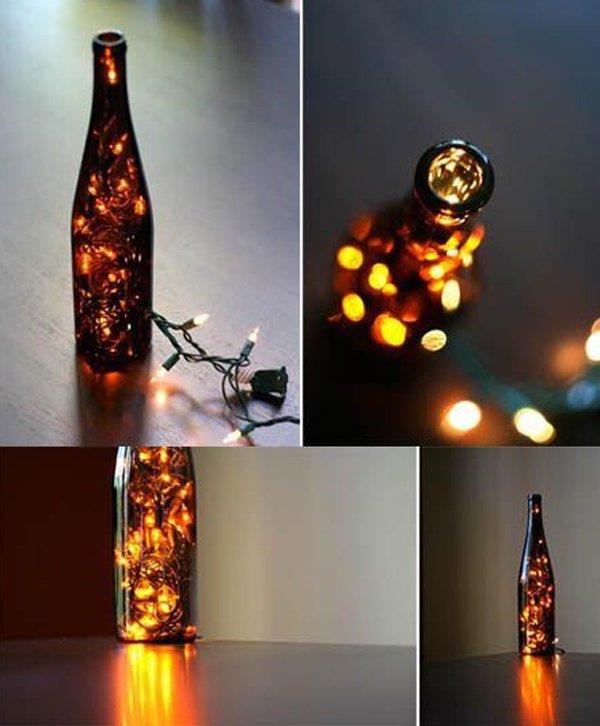 decoracion navidad, luces con botellas de cerveza